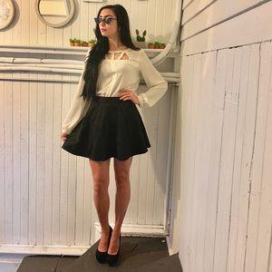 Cream long sleeve cutout blouse